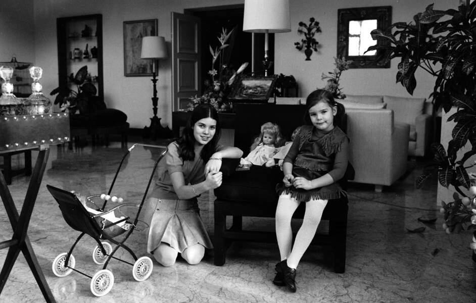 Caroline et Stéphanie de Monaco, en 1970