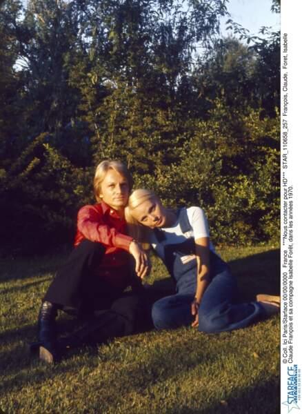 Claude François et sa compagne Isabelle Forêt, dans les années 1970