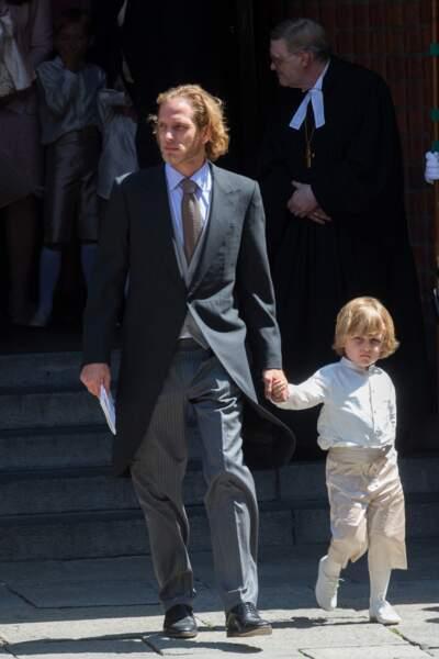 Andrea Casiraghi et son fils Alexandre au mariage du prince Ernst August Jr de Hanovre