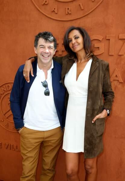Stéphane Plaza et Karine Le Marchand à Roland Garros à Paris le 4 juin 2017