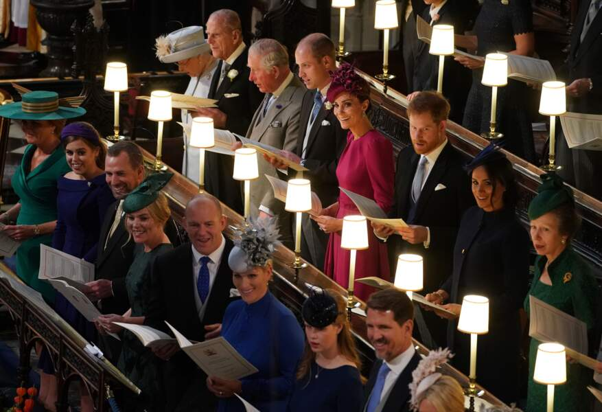 Le prince William, le prince Harry, Kate Middleton et Meghan Markle réunis pour de mariage de la princesse Eugenie d'York en la chapelle Saint-George, le 12 octobre 2018.