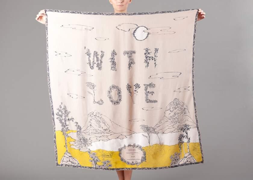 Carré en soie et coton imprimé à la main et en édition limitée, Barbara Agnes, 160 €.