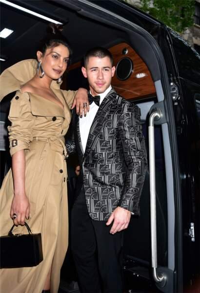 Priyanka Chopra et Nick Jonas lors du MET Gala le 1er mai 2017 à New York