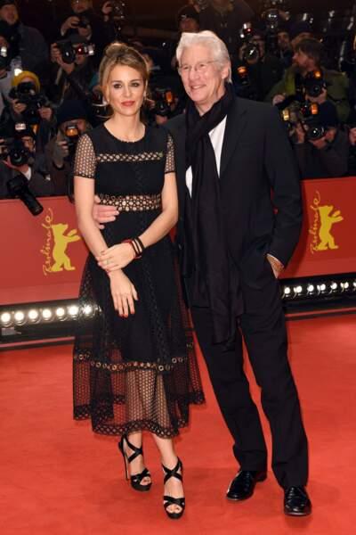 Richard Gere et sa compagne Alejandra Silva à la Berlinale, Berlin, le 10 février 2017