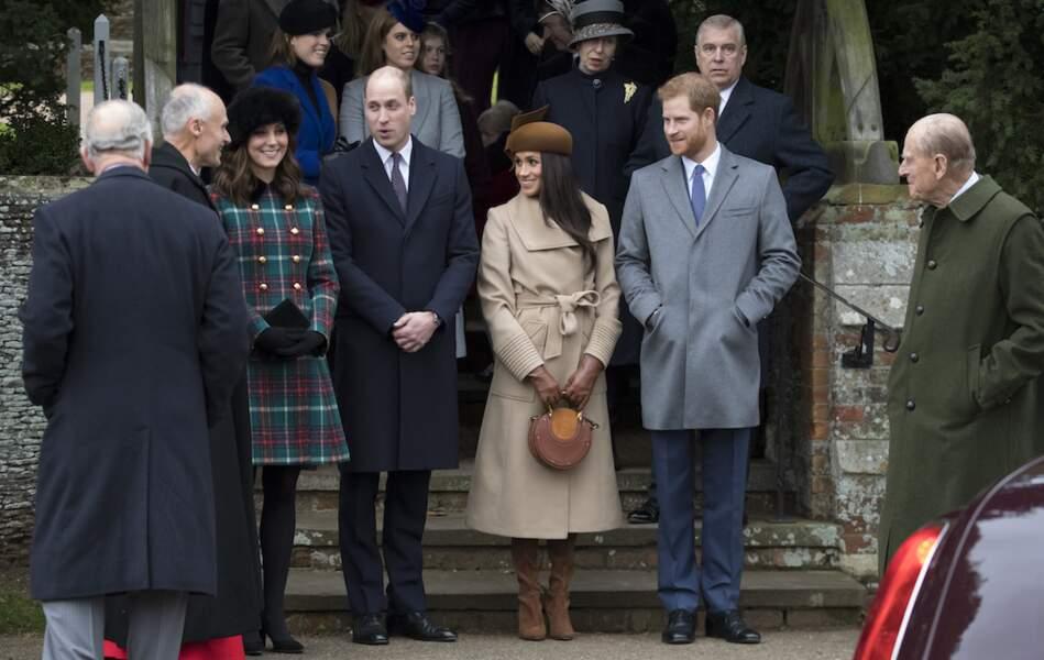 Eugénie d'York et Béatrice d'York, avec leurs cousins, les princes William et Harry, en décembre 2017