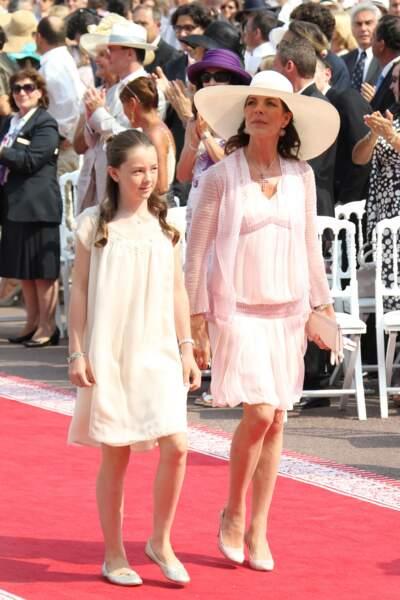 La princesse Alexandra de Hanovre et sa mère Caroline lors du mariage d'Albert et Charlene le 2 juillet 2011