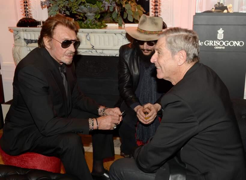 Johnny Hallyday, Don Was et  Jean-Claude Darmon à Paris en 2014