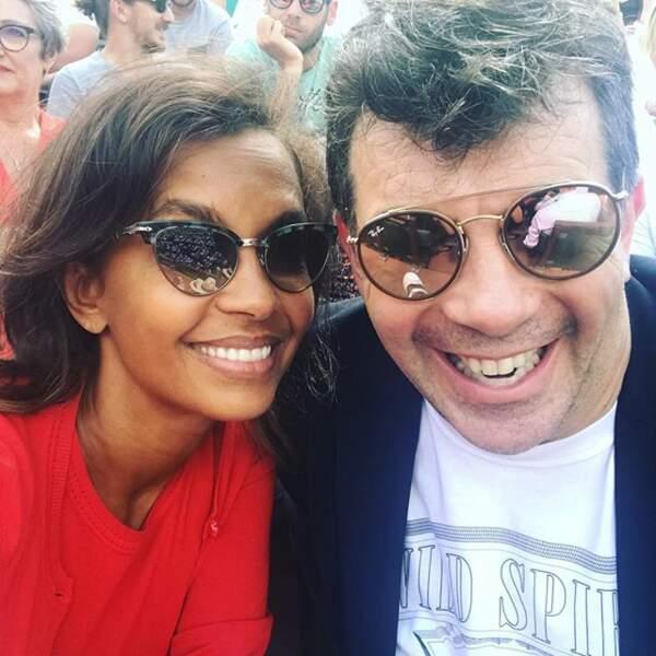 Karine Le Marchand et Stéphane Plaza au tournoi de Roland Garros en juin 2018
