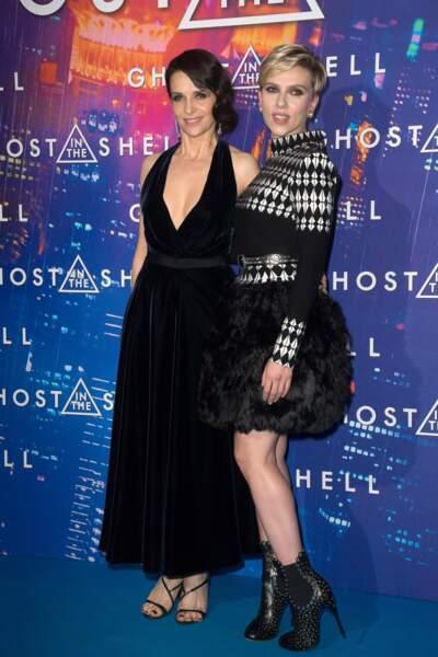 Juliette Binoche était ce mardi à l'avant de Ghost in the Shell, où elle partage l'affiche avec Scarlett Johansson