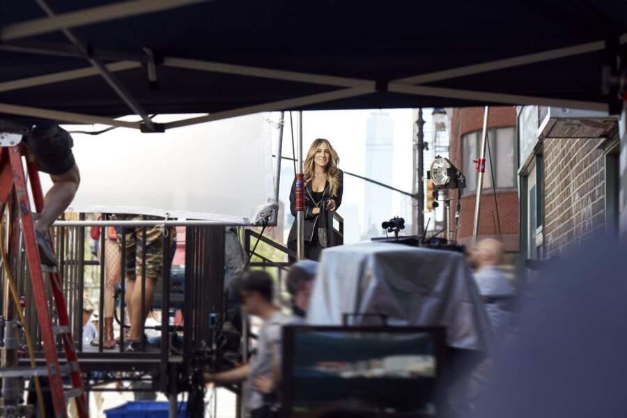 Sarah Jessica Parker en plein tournage de la campagne automne/hiver d'Intimissimi