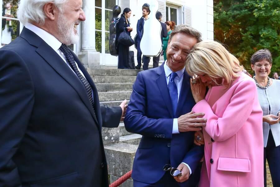Stéphane Bern et Brigitte Macron, à la Villa Viardot, à Bougival, pour les Journées du patrimoine, le 15 septembre