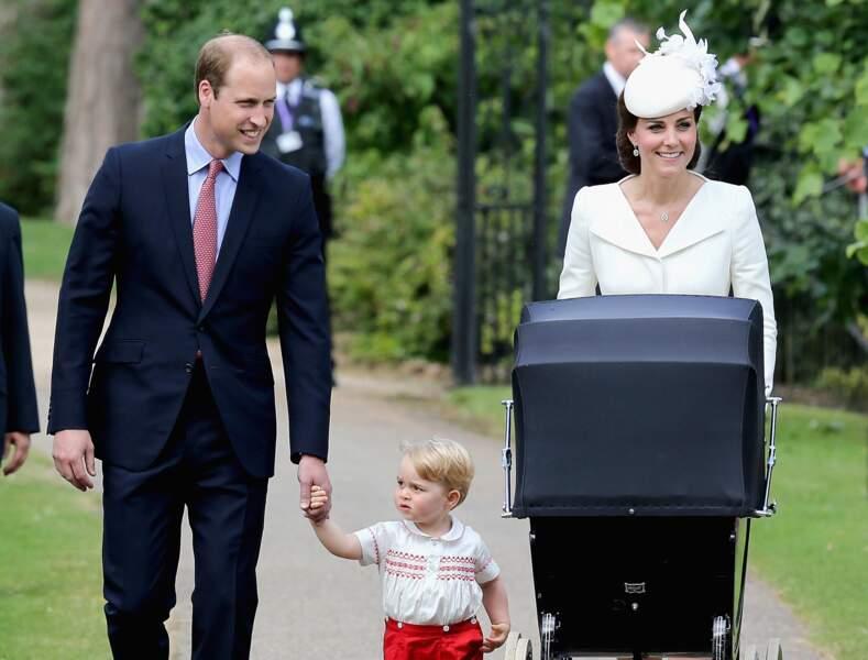 William, Kate et George lors du baptême de la princesse Charlotte à Sandringham, le 5 juillet 2015