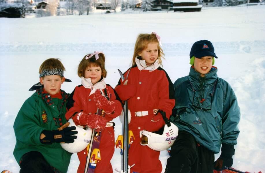 Eugénie d'York et Béatrice d'York, avec leurs cousins, les princes William et Harry, en 1995