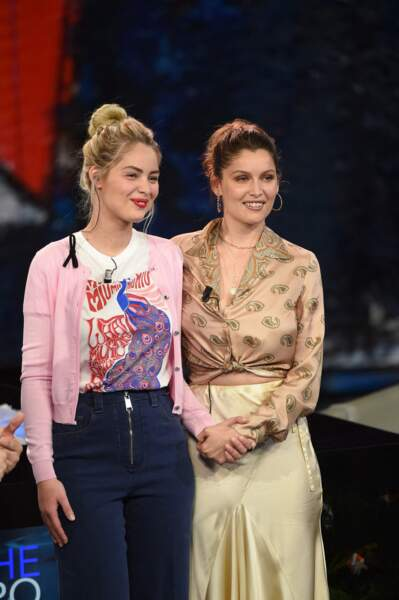 Marie Ange Casta et Laetitia Casta ensemble à l'émission Che Tempo Che Fa TV Show in Milan,