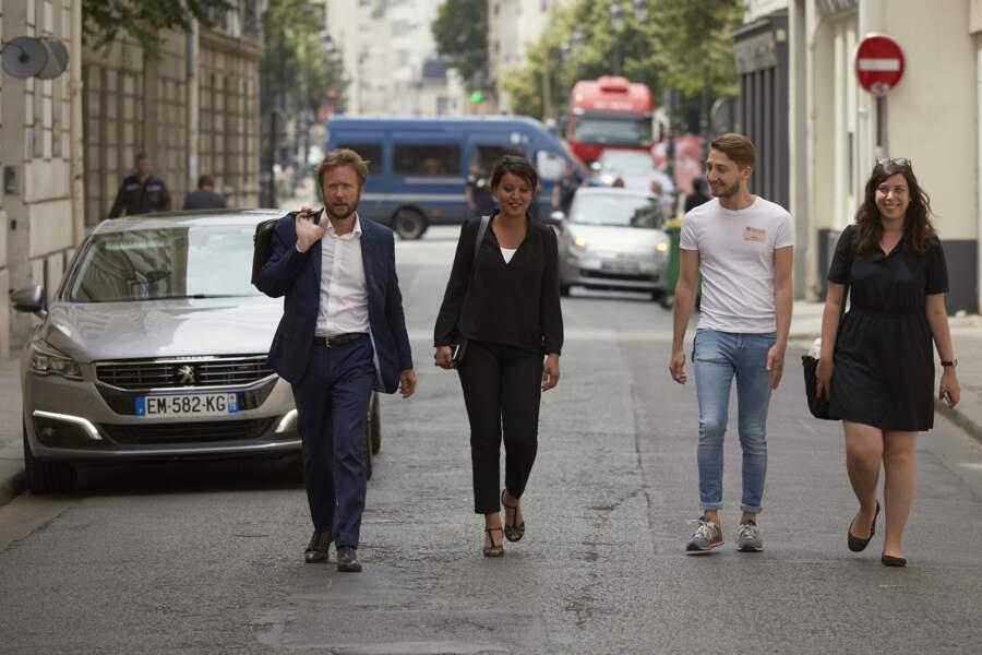 Najat Vallaud-Belkacem son mari assistent à une réunion au PS