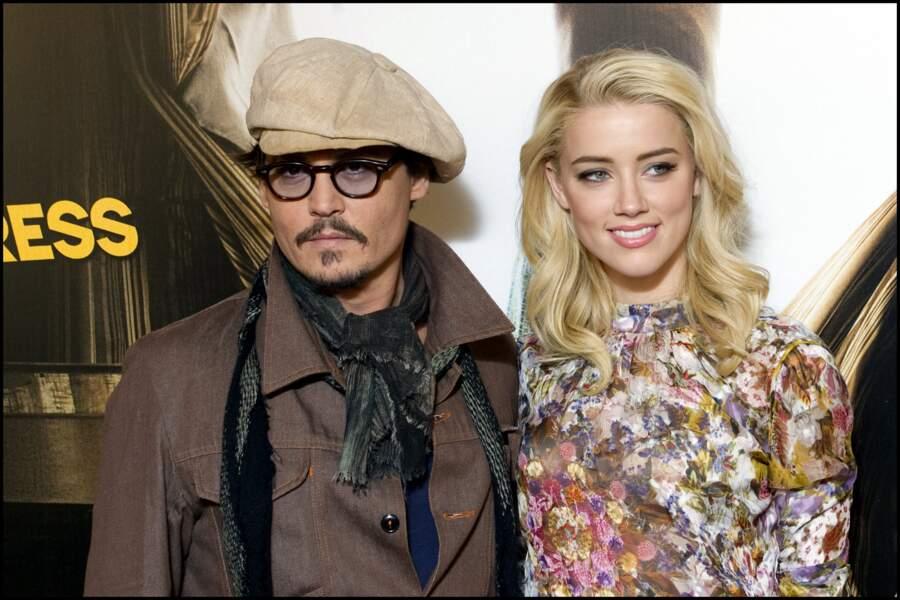 "(2011)Johnny Depp et Amber Heard au photocall du film ""Rhum Express"" à Paris (2011)"