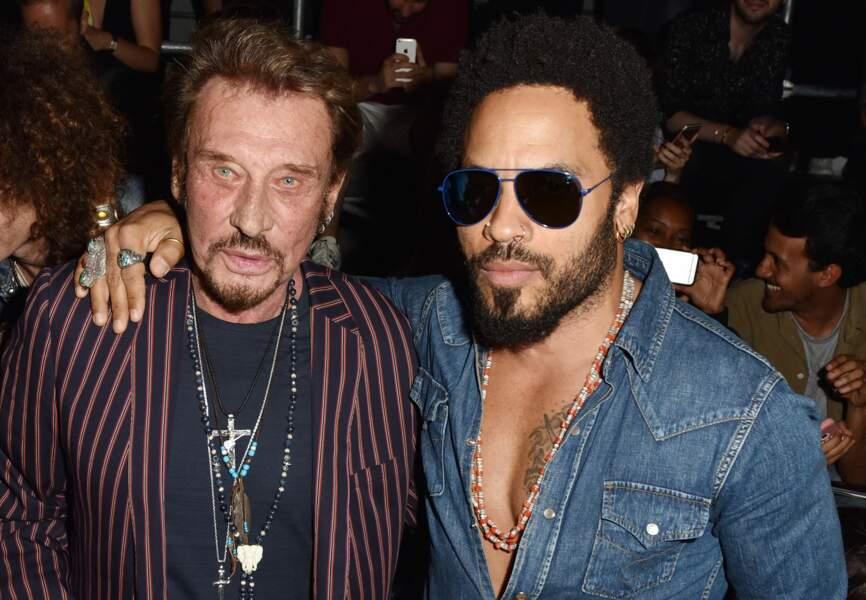 Johnny Hallyday et Lenny Kravitz au défilé Saint Laurent à Paris