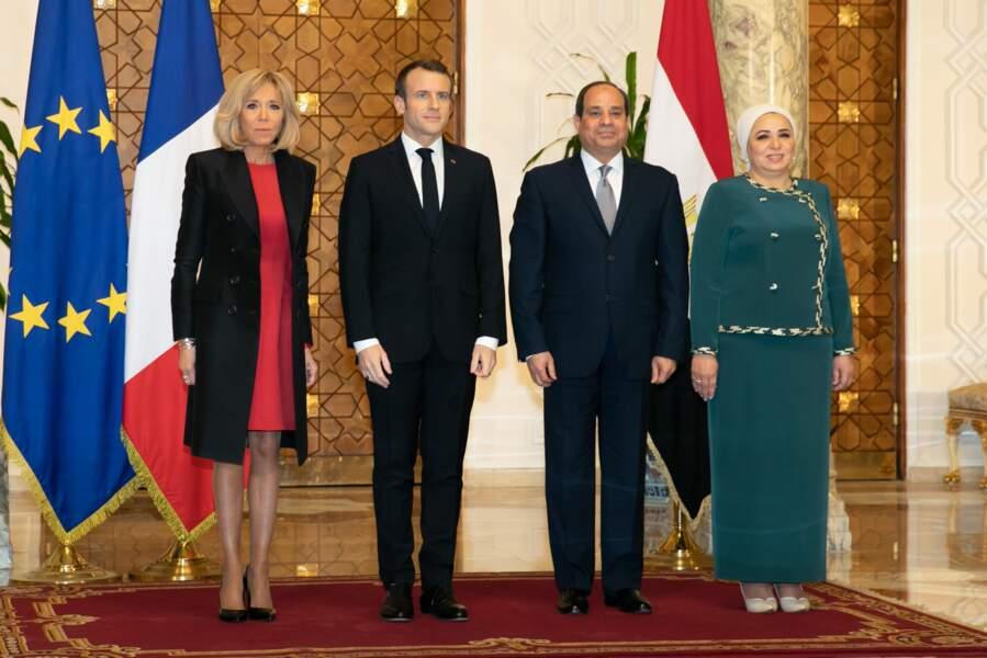 Le couple Macron rencontre le couple présidentiel égyptien au Caire, le 28 janvier 2019