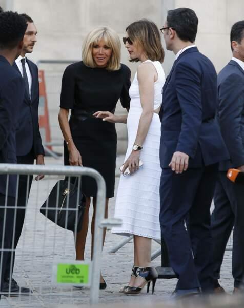 La Première Dame Brigitte Macron lors de la soirée-hommage à Karl Lagerfeld, à Paris, le 20 juin 2019.