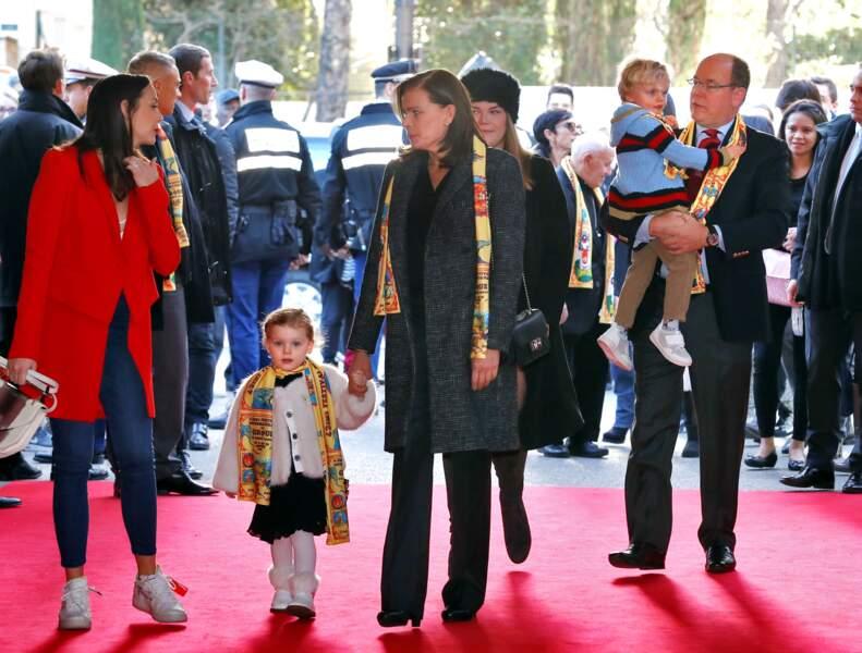 La famille princière de Monaco lors du 42ème festival international du cirque de Monte-Carlo le 21 janvier 2018