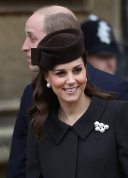 Kate Middleton lors de la messe de Pâques à Windsor le 31 mars 2018