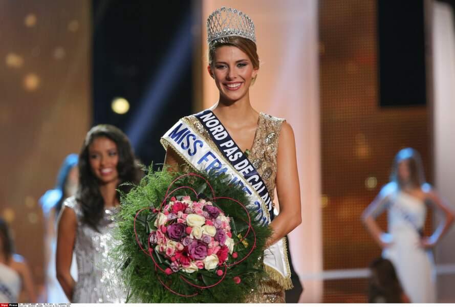 Camille Cerf, élue Miss France 2015, sur la scène du Zénith d'Orléans, le 6 décembre 2014