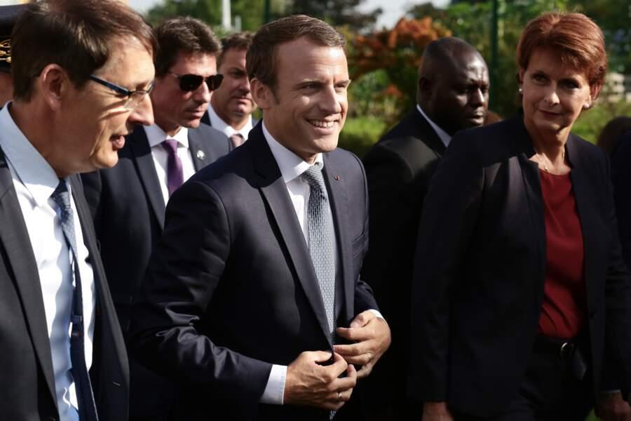 Emmanuel Macron en visite à l'école Louis Houpert de Forbach