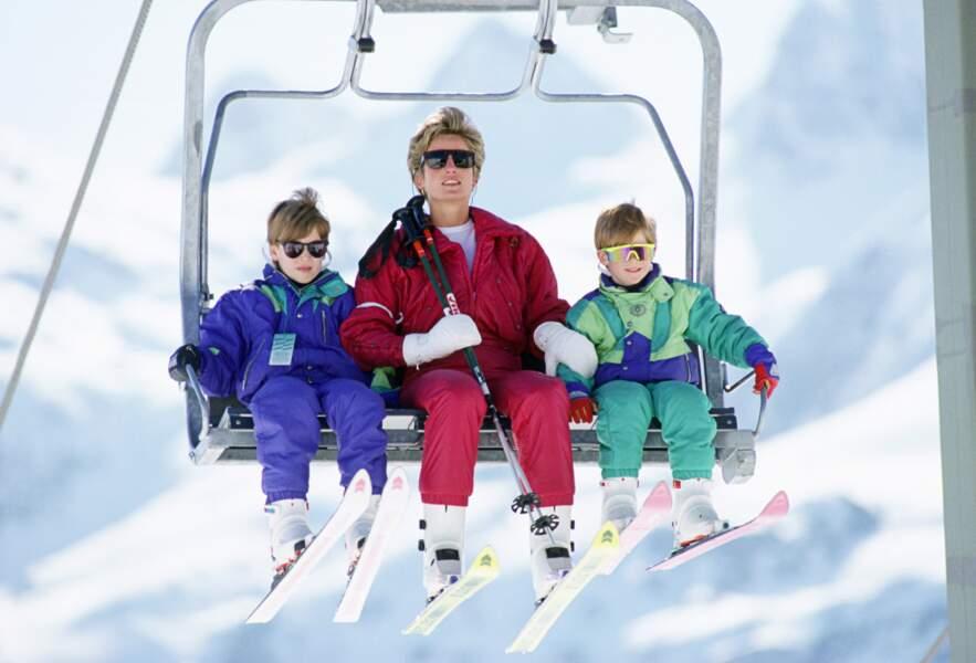 William, Diana et Harry aux sports d'hiver en Autriche, en 1991