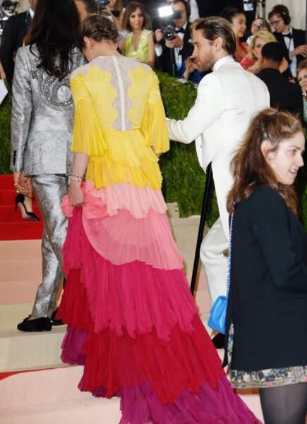 Charlotte Casiraghi sublime en Gucci au Met Gala en 2016 avec l'acteur Jared Leto