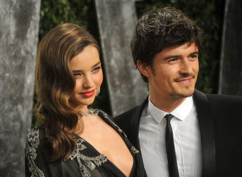 Miranda Kerr and Orlando Bloom à la soirée Vanity Fair des Oscars, en 2013