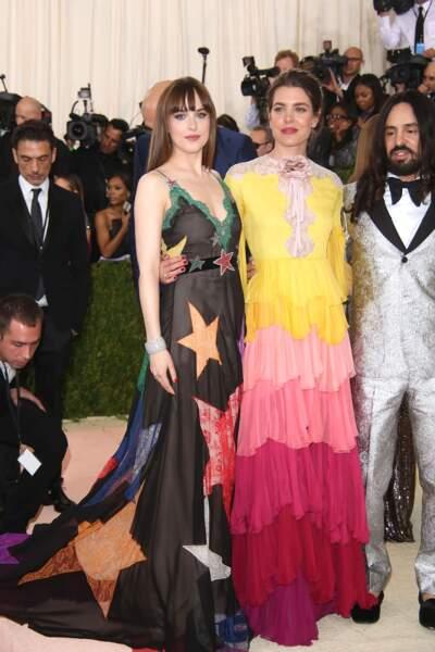 Charlotte Casiraghi avec Dakota Johnson, toutes les deux en Gucci au Met Gala en mai 2016