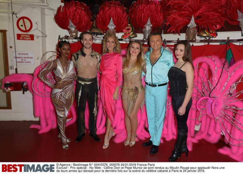 Céline Dion dans les loges du Moulin Rouge, le 24 janvier 2019