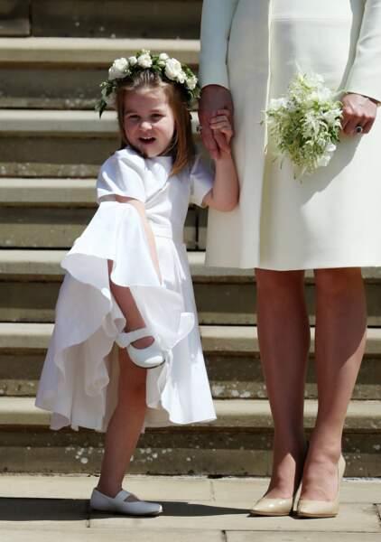 La princesse Charlotte à la sortie de la chapelle St. George lors du mariage du prince Harry, le 19 mai 2018