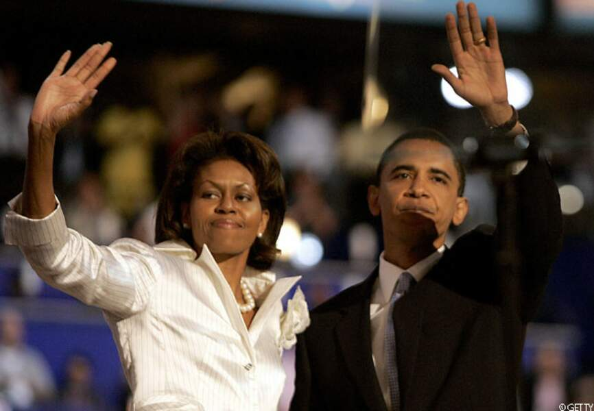 Barack et Michelle saluent la foule à la Convention nationale démocrate, Boston, le 27 juillet 2004