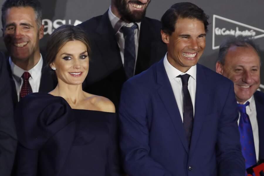 La reine Letizia d'Espagne avec Rafa Nadal - Le roi et la reine d'Espagne lors du 50ème anniversaire des AS Sports
