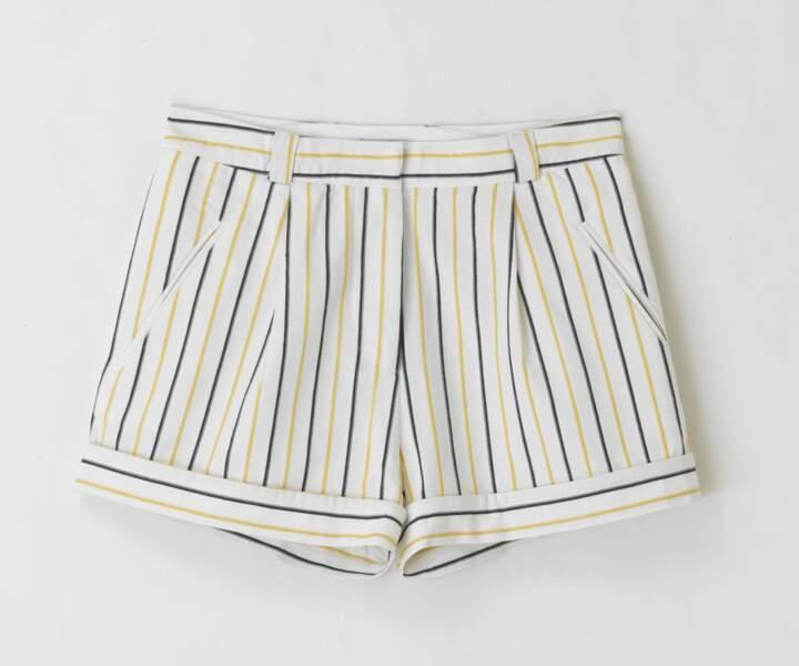 Short rayé en lin et coton, Frnch - 59,95€