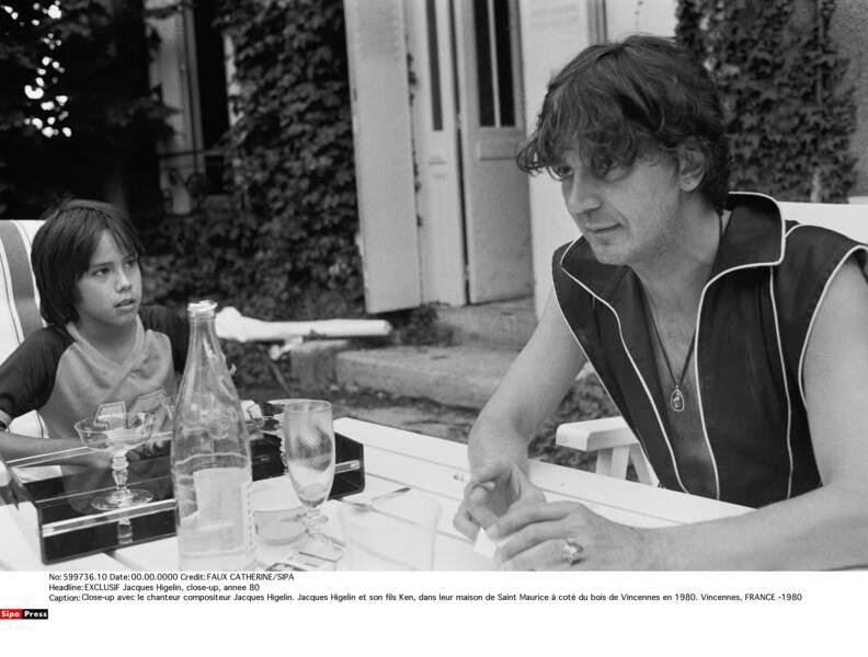 Jacques Higelin et son fils Ken, en 1980