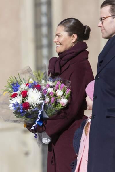 Victoria de Suède ravissante avec son chignon bun à Stockholm le 12 mars 2019.