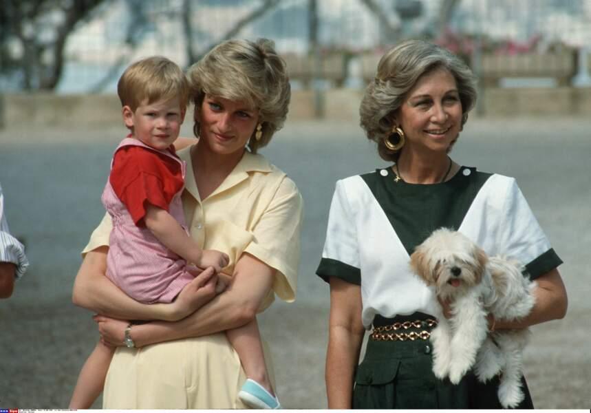La Princesse Diana, le Prince Harry et la Reine Sophie d'Espagne en 1987