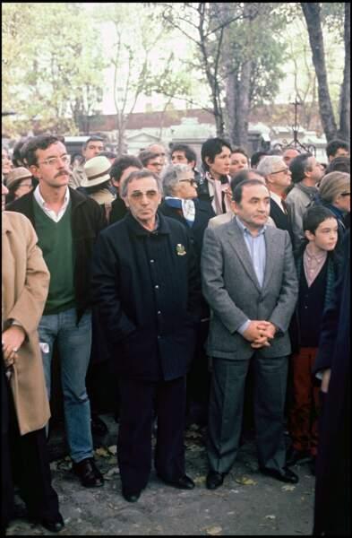Charles Aznavour et Levon Sayan aux obsèques de François Truffaut à Montmartre en 1984