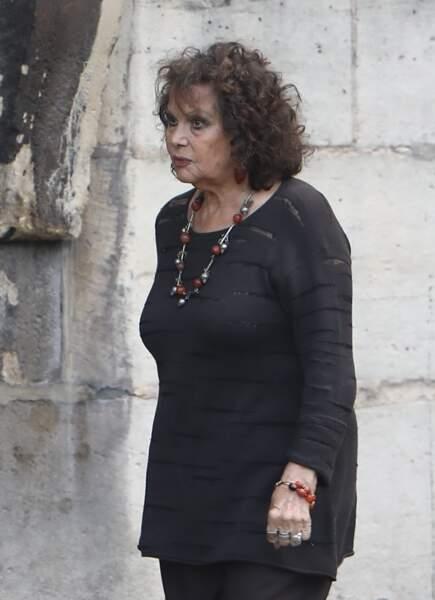 Claudia Cardinale - Obsèques de Mireille Darc en l'église Saint-Sulpice à Paris. Le 1er septembre 2017
