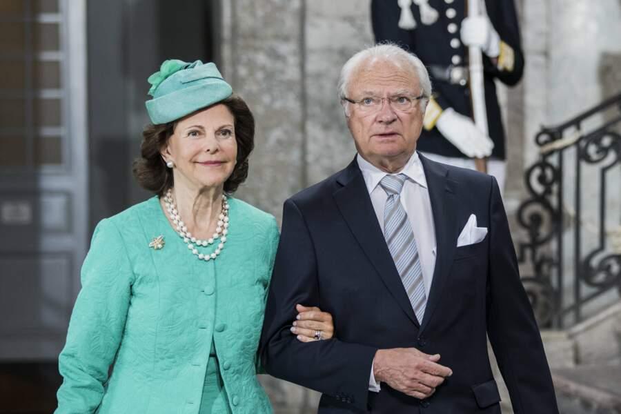 Le roi Carl XVI Gustav et la reine Silvia de Suède le 14 juillet 2017