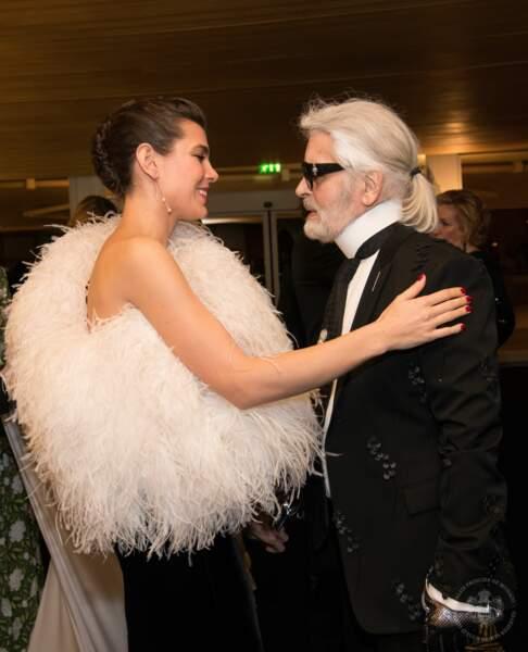 Charlotte Casiraghi et Karl Lagerfeld au Bal de la Rose à Monaco le 24 mars 2018