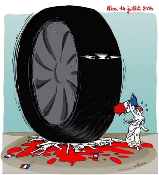 """Le dessin de Swaha : """"Marianne à bout de souffle face à la terreur""""."""