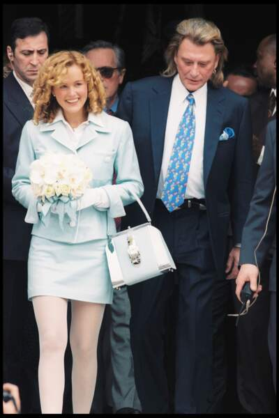 Laeticia et Johnny Hallyday le jour de leur mariage à Neuilly sur Seine, le 25 mars 1996
