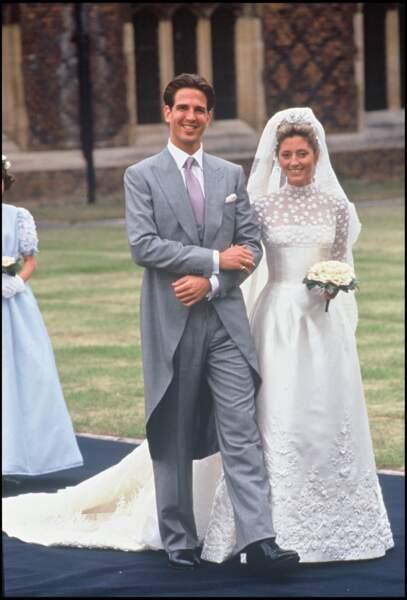 Le prince Pavlos de Grèce lors de son mariage avec Marie Chantal Miller (en robe Valentino) le 1er juillet 1995