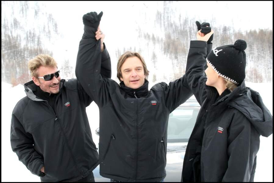 Johnny, David Hallyday et Laeticia à Val d'Isère en 2008