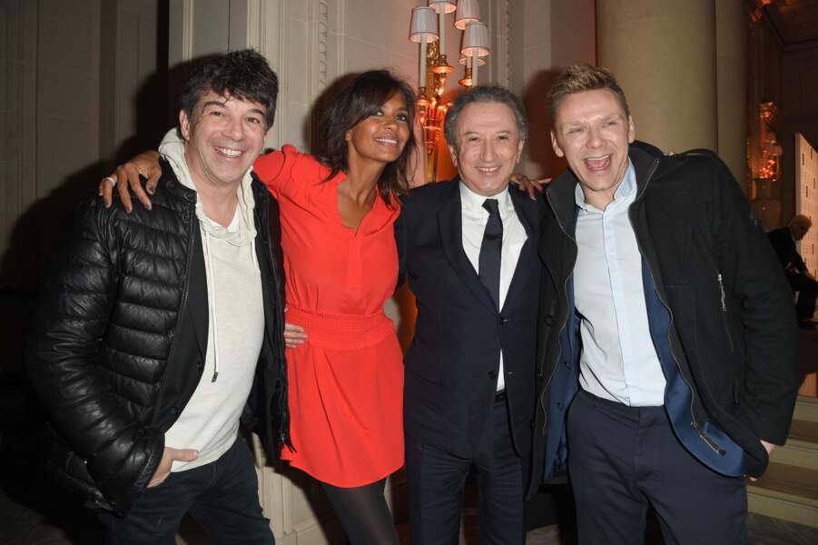 Stéphane Plaza, Karine Le Marchand, M. Drucker et Jeanfi au Gala des Stéthos d'Or à Paris le 19 mars 2018