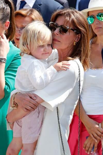 La princesse Caroline de Hanovre et son petit-fils Sacha Casiraghi en 11 juillet 2015
