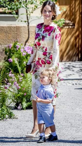 La princesse Sofia et  son fils le prince Alexander au palais de Drottningholm en Suède le 8 juin 2018
